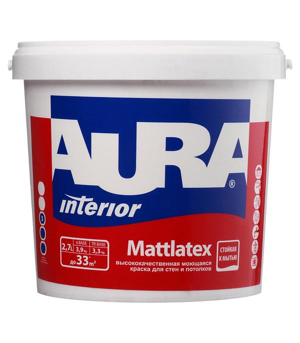 Краска водно-дисперсионная Aura Interior Mattlatex моющаяся белая основа А 2,7 л