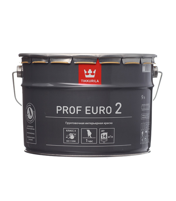 Купить Краска в/д грунтовочная PROF EURO 2 основа VVA гл/мат 9 л, Tikkurila