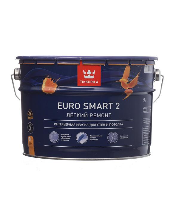 Купить Краска в/д Tikkurila Euro Smart 2 основа VVA глубокоматовая 9 л