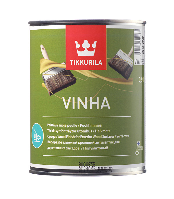 Антисептик кроющий Tikkurila Vinha основа VVA 0.9 л, Белый  - Купить