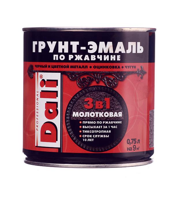 Грунт-эмаль по ржавчине 3 в 1 Dali молотковая серая 0.75 л грунт эмаль по ржавчине 3 в1 hammerite молотковая серебристо серая 2 5 л