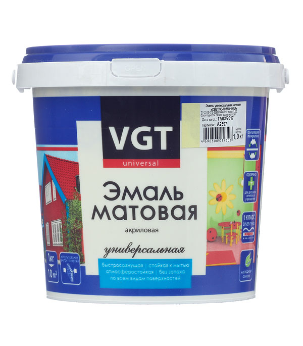 Эмаль акриловая матовая светло-лимонная VGT 1 кг эмаль акриловая матовая синяя vgt 1 кг