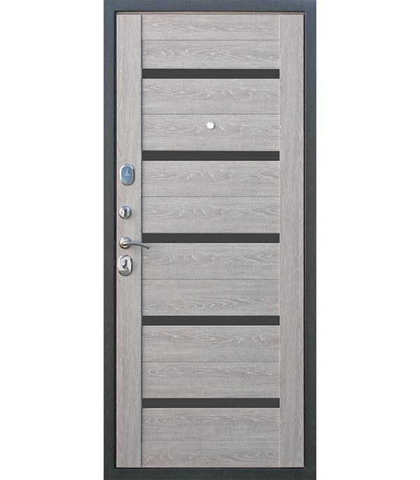 Купить Дверь входная 10 см Троя серебро дымчатый дуб 860х2050 мм левая, Сталь