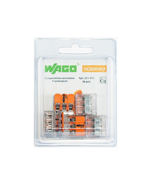 Купить Зажим клемма Wago 221-413 на 3 провода 0, 2-4 мм кв без пасты 6 шт