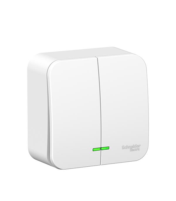 Выключатель двухклавишный с подсветкой о/у Schneider Electric Blanca белый выключатель двухклавишный этюд о у белый