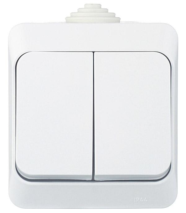 Выключатель Schneider Electric Этюд BA10-042B двухклавишный открытая установка белый IP44 schneider двухклавишный выключатель этюд белый