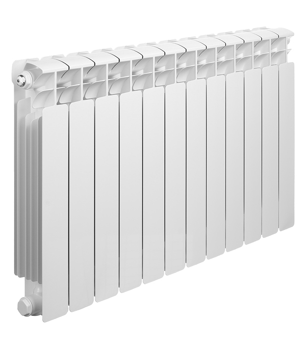 """Радиатор биметаллический Rifar Base Ventil 500 мм 12 секций 3/4"""" нижнее правое подключение белый"""