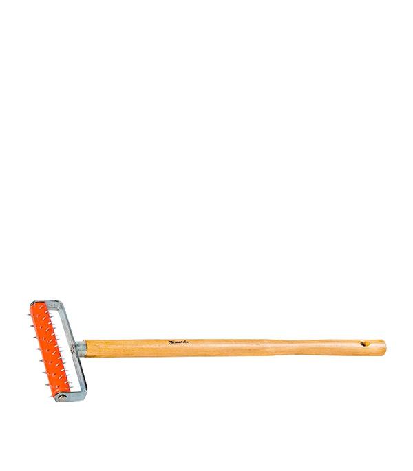Валик игольчатый MTX 150 мм игла 14 мм с рукояткой для ГКЛ игольчатый валик для гипсокартона деревянная ручка matrix master 87901 150 мм