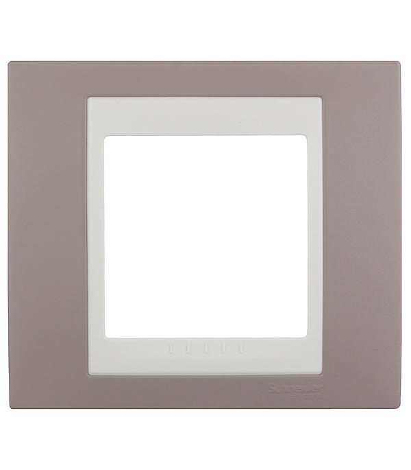 Рамка одноместная Schneider Electric Unica Хамелеон коричневый/бежевый рамка для розеток и выключателей jung ecoprofi 2 поста цвет бежевый