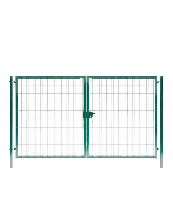 Ворота распашные с панелью 3D и столбами 2030х3500 мм цинк+порошковая окраска зеленая RAL 6005