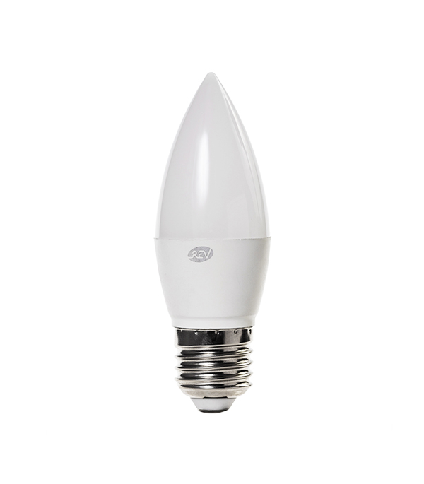 Лампа светодиодная E27 5W C37 4000K, дневной свет, REV лампа светодиодная rev нейтральный свет цоколь g4 2w