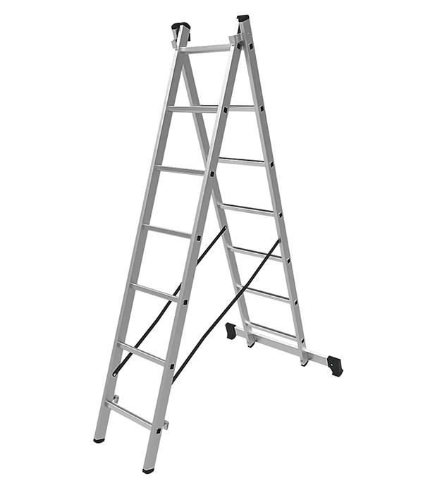 Лестница Новая высота 2-х секционная 2х7 лестница новая высота приставная 10 ступеней