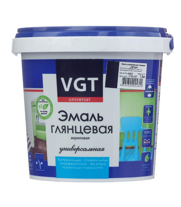 Эмаль акриловая глянцевая черная VGT 1 кг грунт концентрат vgt водостоп акрил 1 кг