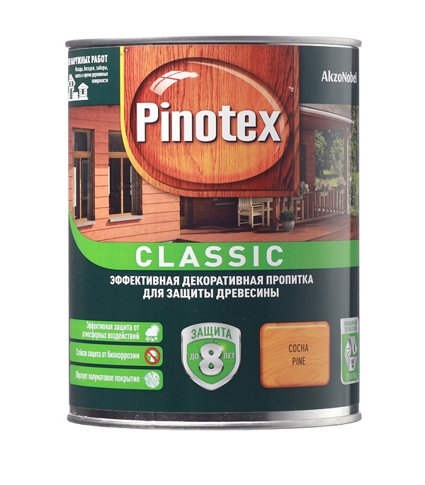 Декоративно-защитная пропитка для древесины Pinotex Classic сосна 1 л