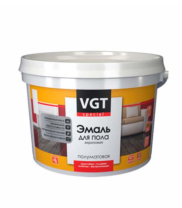 Эмаль для пола VGT акриловая супербелая основа А  2 л/ 2,5 кг эмаль универсальная матовая основа c vgt 30 кг