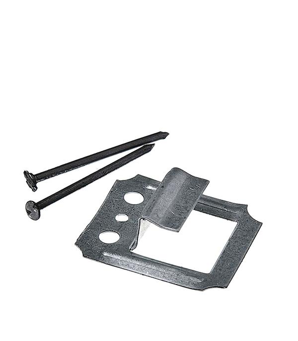 Крепеж кляймер №6 с гвоздями для имитатора бревна (100 шт)