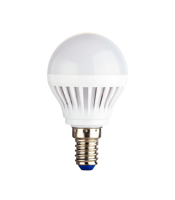 Лампа светодиодная E14 7W, G45 (шар), 2700K, теплый свет, REV