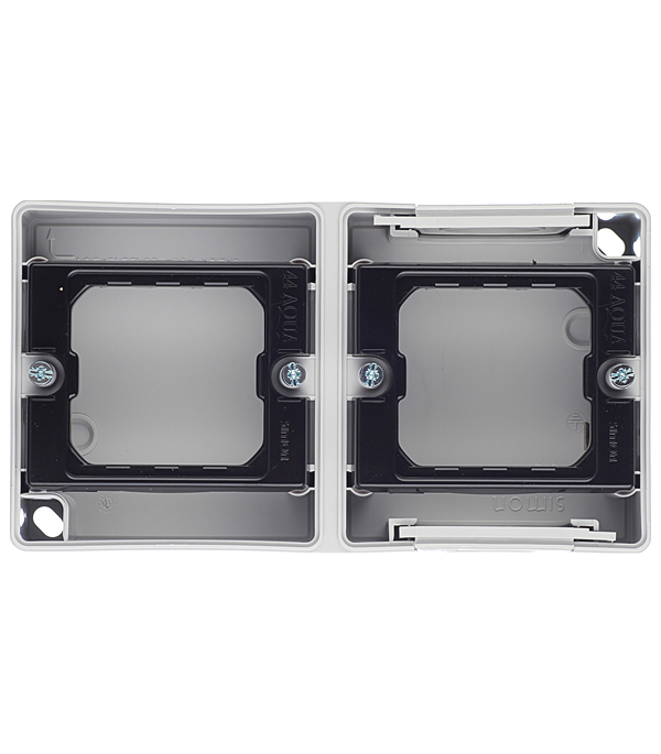 Основание под 2-местную рамку IP55 открытый горизонтальный монтаж 152х84х33мм S44 Aqua серый aqua капля d3 2 с ушком обмазка c винтом цв rup