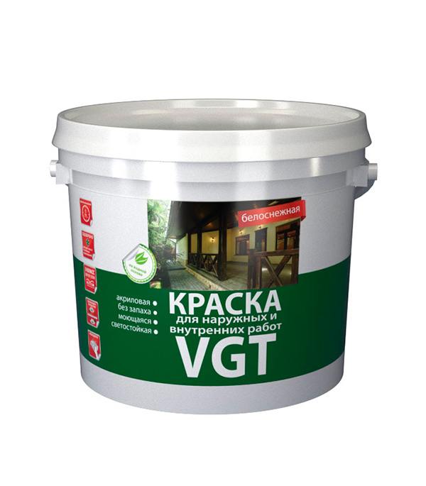 Краска водно-дисперсионная VGT Белоснежная моющаяся 25 кг стоимость