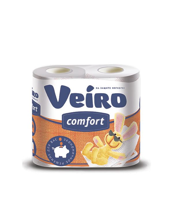 Бумага туалетная двухслойная Linia Veiro 4 рулона фуджиеда сеиши туалетная бумага двухслойная с ароматом зелёного яблока 30м 12 рулонов