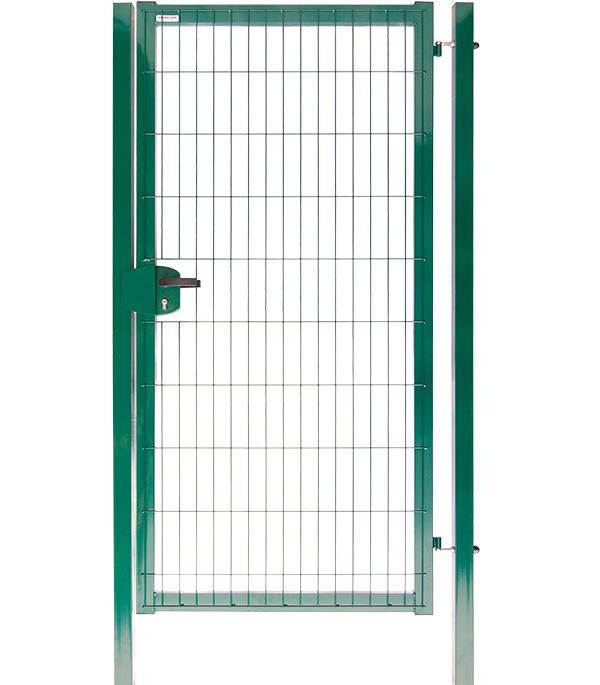Калитка с панелью 3D и столбами 1000х2030 мм цинк+порошковая окраска зеленая RAL 6005 Grand Lin