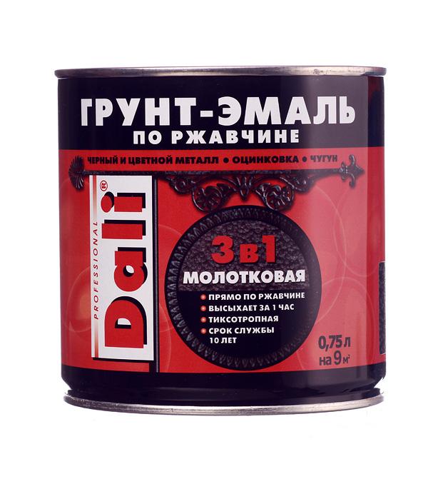 Грунт-эмаль по ржавчине 3 в 1 Dali молотковая черная 0.75 л