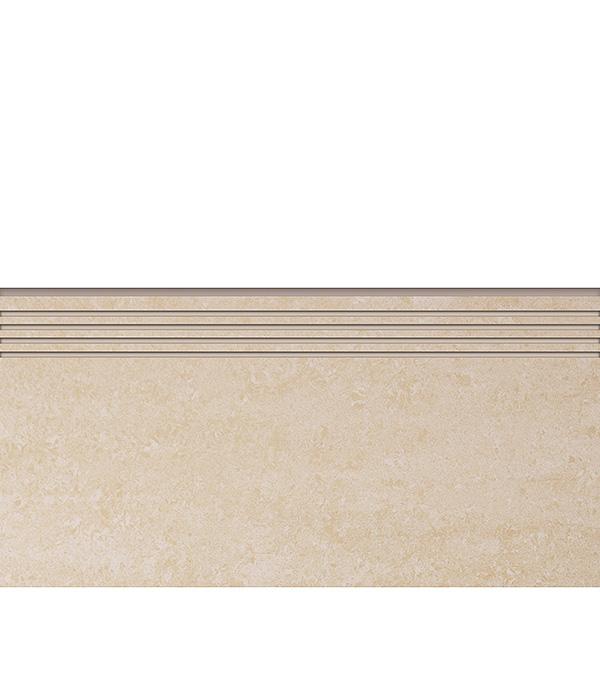 Керамогранит декор 294х600х10 мм бежевый Travertino ступень полированный/Грасаро керамогранит декор 76х600х10 мм бежевый travertino плинтус грасаро