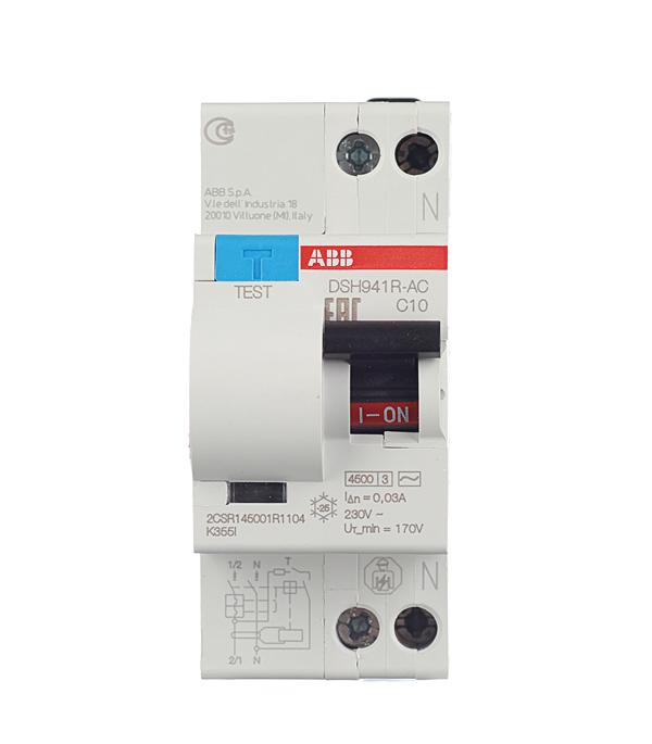 Дифференциальный автомат 1P+N 10А тип C 30 мА 4.5 kA ABB DSH941R автомат 3p 63а тип с 6 ka abb s203