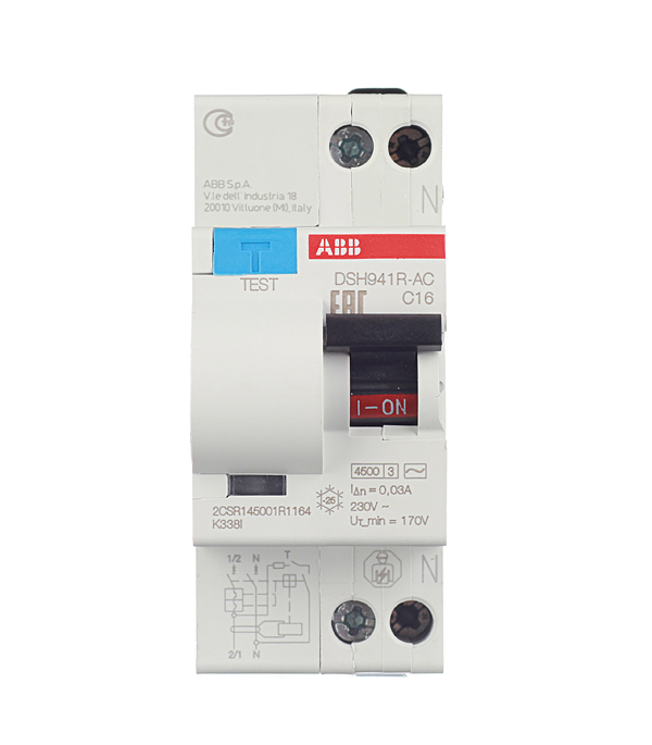 Дифференциальный автомат 1P+N 16А тип C 30 мА 4.5 kA ABB DSH941R автомат 3p 63а тип с 6 ka abb s203