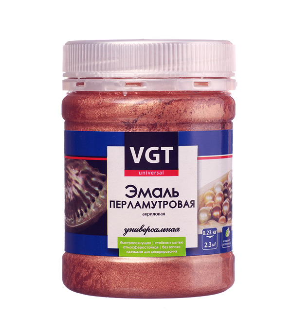 Эмаль акриловая перламутровая VGT бронза 0,23 кг