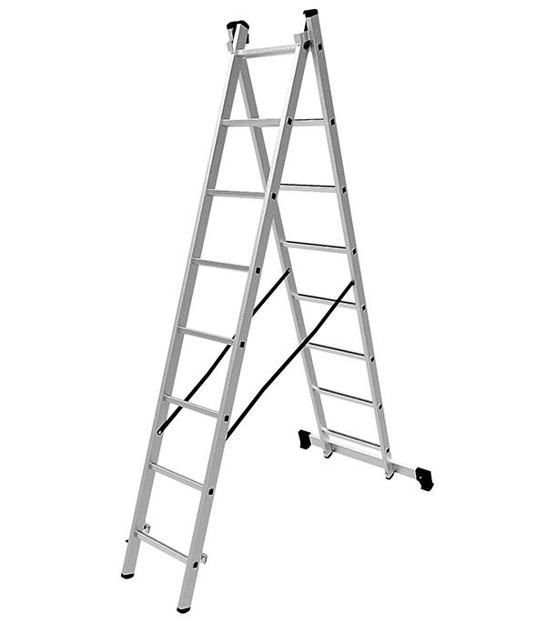 Лестница Новая высота 2-х секционная 2х8 лестница новая высота приставная 10 ступеней