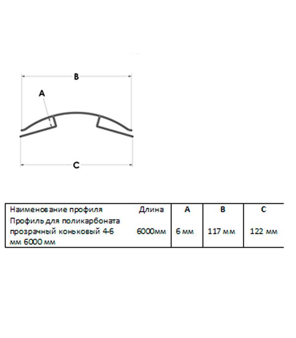 Профиль для поликарбоната коньковый 4-6 мм 6000 мм