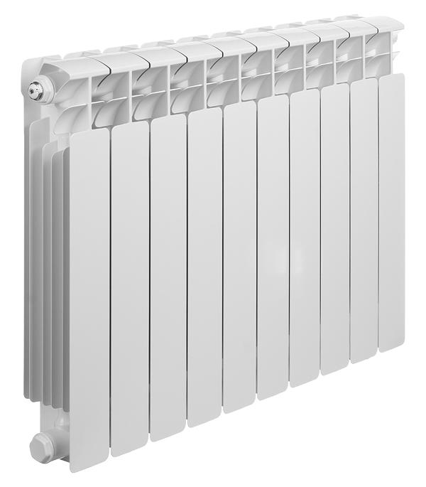 Радиатор биметаллический Rifar Base Ventil 500 мм 10 секций 3/4 нижнее правое подключение белый биметаллический радиатор rifar рифар b 500 нп 10 сек лев кол во секций 10 мощность вт 2040 подключение левое