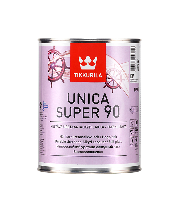 цена на Яхтный лак Tikkurila Unica Super основа EP глянцевый 0.9 л