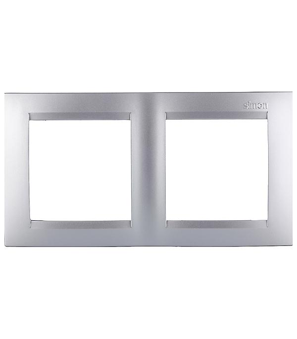 Рамка Simon 15 1500620-033 двухместная универсальная алюминий рамка simon 15 1500620 030 2 я белая