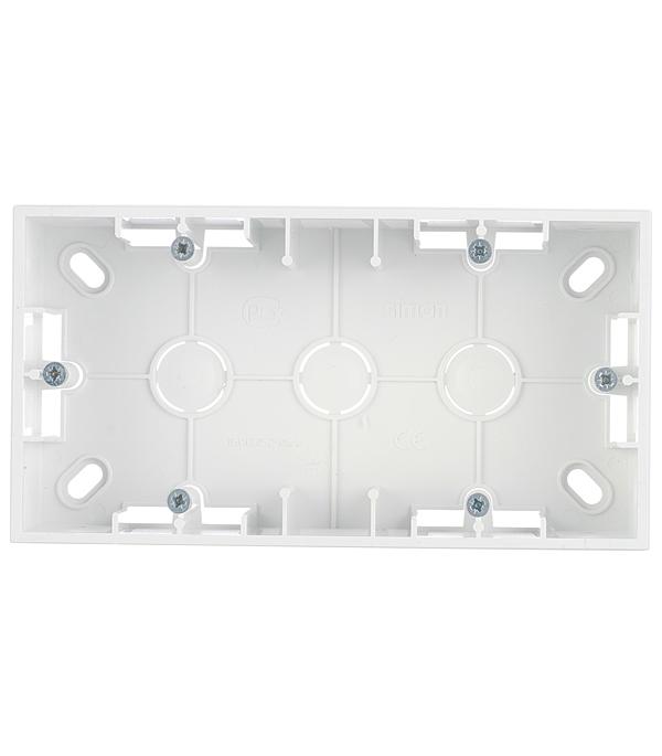 Коробка монтажная Simon 15 1590752-030 двухместная открытая установка белая рамка simon 15 1500620 030 2 я белая