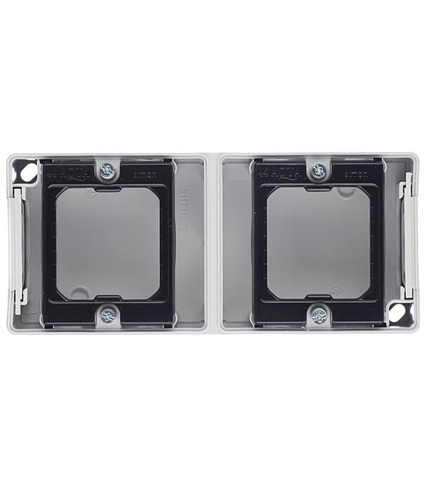 Купить Основание под 2-местную рамку IP55 открытый вертикальный монтаж 170х75х33мм S44 Aqua серый