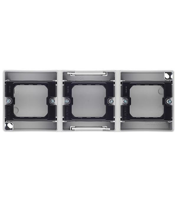 Основание под 3-местную рамку IP55 открытый горизонтальный монтаж 236х84х33мм S44 Aqua серый aqua m 3