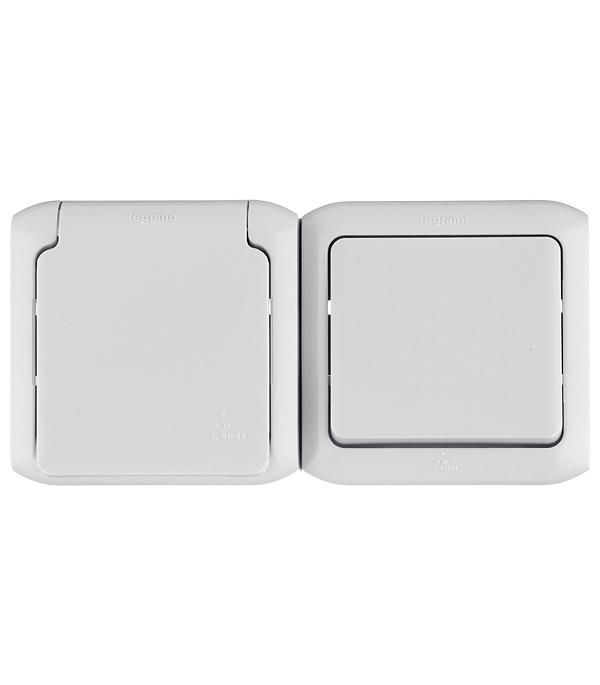 Блок о/у одноклавишный  выключатель+ розетка с з/к со шторками IP44 серый недорого