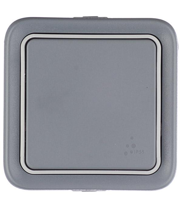 Переключатель одноклавишный Legrand Plexo о/у влагозащищенный IP55 серый коробка распределительная legrand plexo 40х40х60 мм цвет серый ip55
