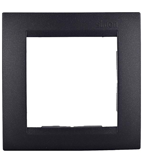 Рамка Simon 15 1500610-038 одноместная универсальная графит рамка simon 15 1500630 038 трехместная универсальная графит