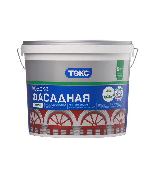 цена на Краска водно-дисперсионная фасадная Текс Профи белая основа А 4,5 л