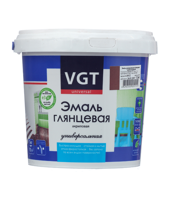 Эмаль акриловая глянцевая шоколадная VGT 1 кг эмаль акриловая матовая синяя vgt 1 кг