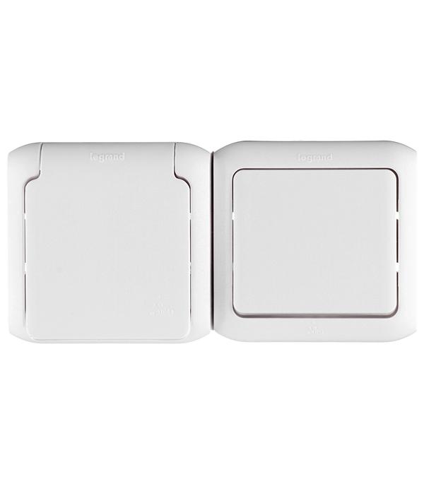 Блок о/у одноклавишный  выключатель+ розетка с з/к со шторками IP44 белый недорого