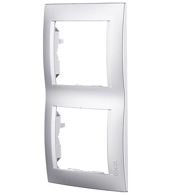 Рамка Simon 15 1500620-033 двухместная универсальная алюминий фото