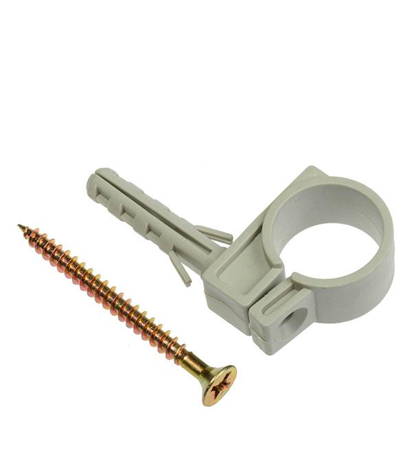 Хомут сантехнический 25-27 мм пластик с дюбелем для крепления трубы (5 шт.) анкер со шпилькой 8 25 мм 25 шт rawlplug