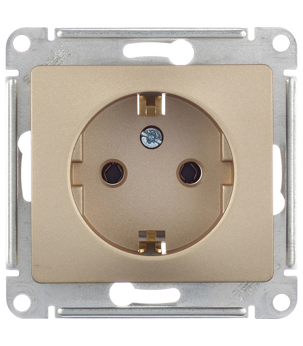 Механизм розетки с заземлением с/у Schneider Electric Glossa титан цены