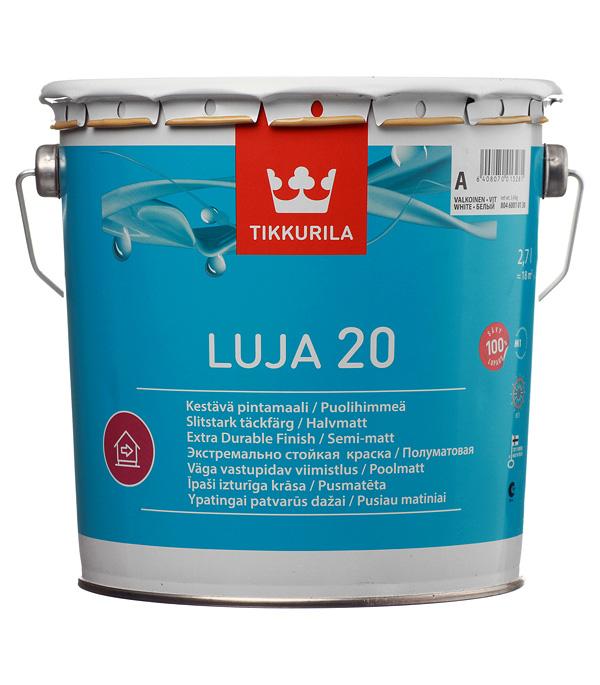цена на Краска водно-дисперсионная Tikkurila Luja 20 Puolihimmea моющаяся белая основа А 2,7 л
