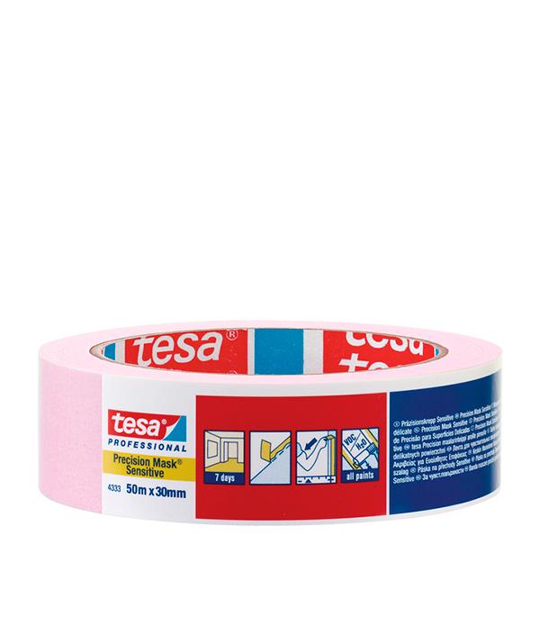 Лента малярная Tesa для деликатных поверхностей розовая 30 мм 50 м
