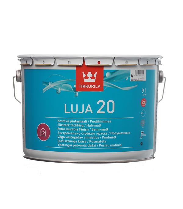 цена на Краска водно-дисперсионная Tikkurila Luja 20 Puolihimmea моющаяся белая основа А 9 л